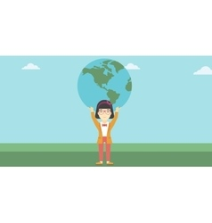 Business woman holding Earth globe vector image