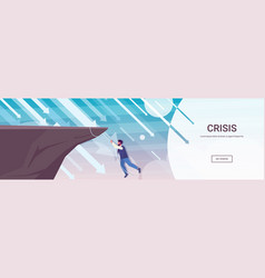 Businessman climbing on cliff from abyss arrows vector