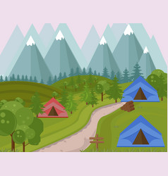 Camping tents in the mountains background vector