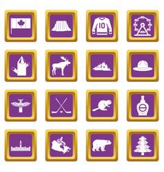 Canada travel icons set purple vector