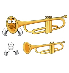Cartoon happy classic brass trumpet character vector