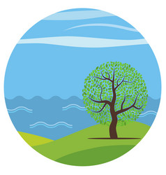 Cartoon landscape with the lonely tree vector