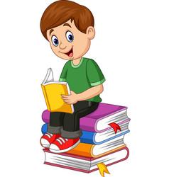 cartoon little boy reading book vector image