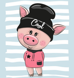 Cartoon pig in a black hat vector