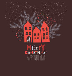 christmas card with red houses and fir branches vector image