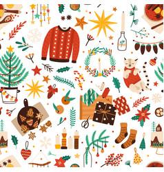 Christmas symbols flat seamless pattern vector