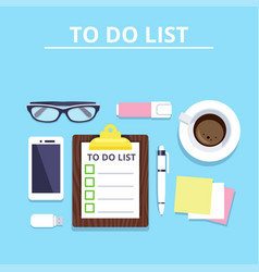 Clipboard with to-do list phone coffee vector