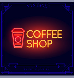Coffee shop neon light sign vector