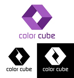 Color cube logo template vector