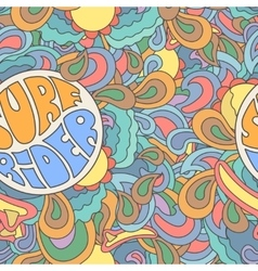 colored surfing retro hand drawn pattern summer vector image
