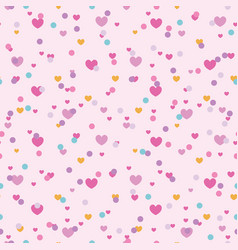 colorful confetti hearts seamless repeat pattern vector image
