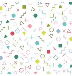 colorful geometric elements memphis style pattern vector image
