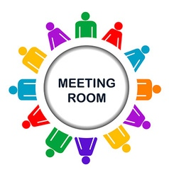 Colorful meeting room icon vector