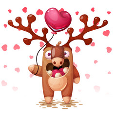 crazy deer with balloon heart and love vector image