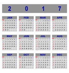 Create demo 2017 calendar template vector image