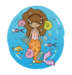 cute mermaid under sea with seaweed vector image
