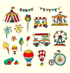 Doodle set of circus elements isolated on white vector