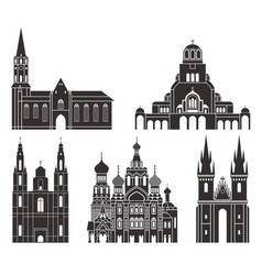 Eastern europe isolated european buildings vector