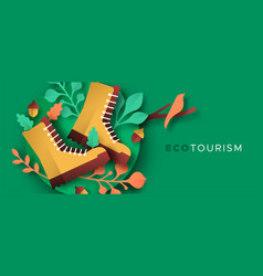 Eco tourism papercut nature hiking boots banner vector