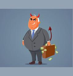 Evil devilish businessman holding a briefcase vector