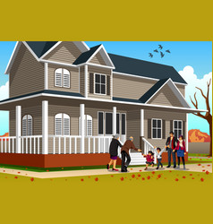 family greets grandparent vector image