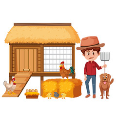 Farmer and chicken coop on white background vector