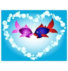 Fish love vector image