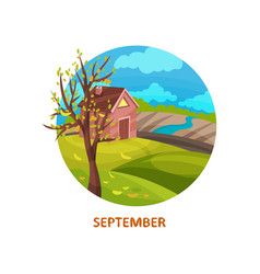flat icon of countryside with small house vector image