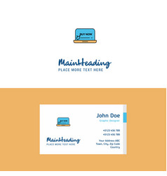 Flat online shopping logo and visiting card vector
