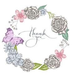 Floral wreath pastel iris japonica gypsophila vector