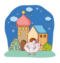 Fluffy white sheep cartoon vector