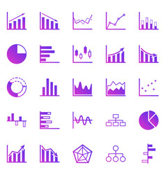 graph gradient icons on white background vector image