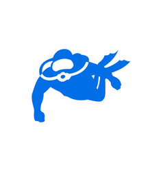 graphic diving logo template with diver swimming vector image