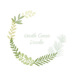 Greenery scribble hand drawn foliage border vector