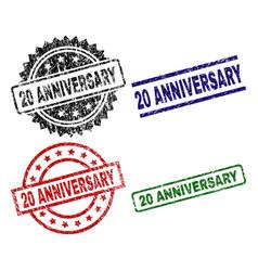 grunge textured 20 anniversary stamp seals vector image