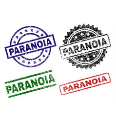 Grunge textured paranoia seal stamps vector