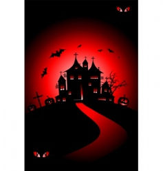 halloween house on hill vector image