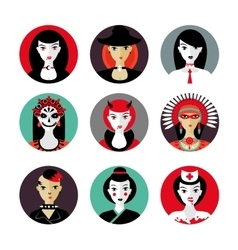 Halloween woman cosplay Female avatar set Flat vector