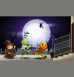 happy kids halloween in the full moon background vector image