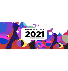 Happy new year 2021 greeting card banner colorful vector