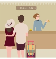 Hotel reception girl couple travel check-in front vector