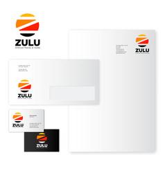 Identity zulu business card letter envelope vector
