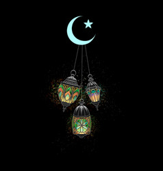 illuminated arabic lamp vector image