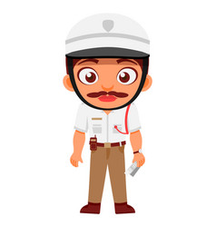 indian man traffic police inspector indian police vector image