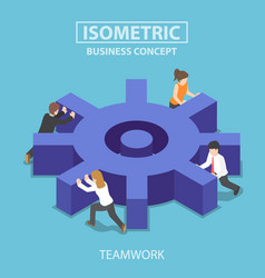 isometric business team pushing a big cogwheel vector image