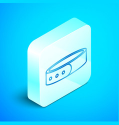 Isometric line collar with name tag icon isolated vector