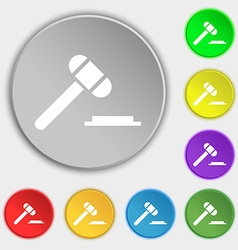 Judge or auction hammer icon sign Symbol on eight vector