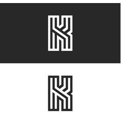 letter k logo old monogram set black and white vector image