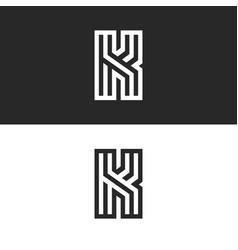 Letter k logo old monogram set black and white vector