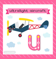 Letter u lowercase tracing ultralight aircraft vector